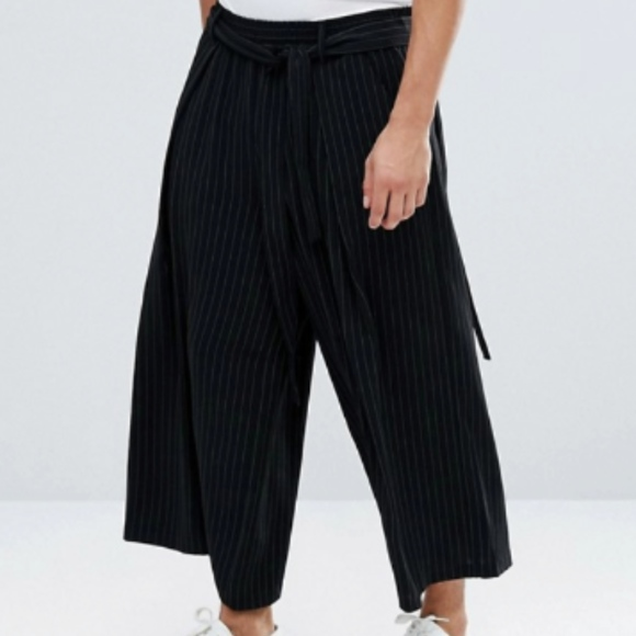 Asos Pants Mens Wide With Pinstripe In Black Poshmark